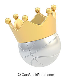 Basketball ball in the crown isolated - Basketball silver...