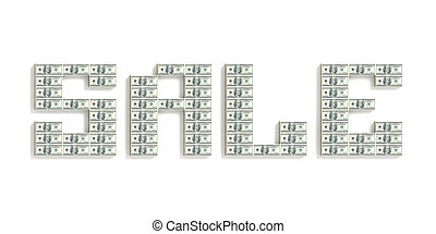 Word SALE made of dolar packs.Isolated on white.3d rendered.