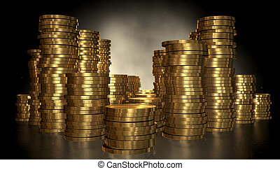 Gold Coin Stacks - A closeup of various sized piles of gold...