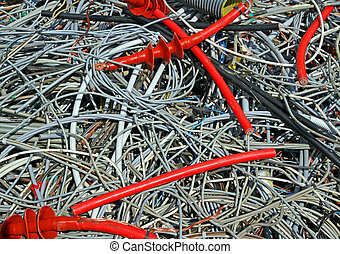 skein of copper wires in a controlled landfill - many skein...