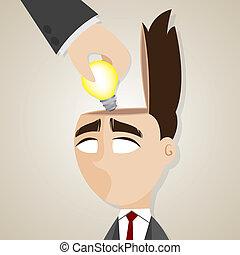 cartoon businessman stolen ideas
