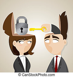 cartoon businessman and businesswoman unlock with key -...