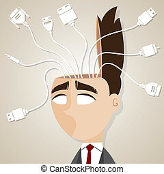cartoon businessman with connecting cable in his head