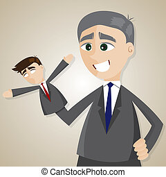 cartoon puppet businessman manipulated by older boss -...