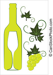 White wine bottle and glass with floral deco elements