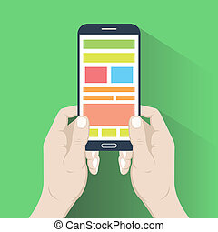Smartphone in hands. Flat design - Smartphone in hands in...