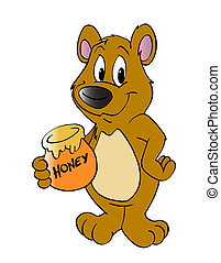 Honey Bear - hand drawn cartoon of a little bear holding...