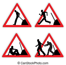 Worker taking brake - Set of signs with workmen taking rest...