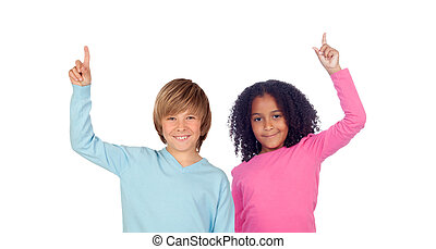 African girl and Caucasian boy asking to speak isolated on a...