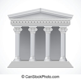 Front view of an antique greek temple. Vector