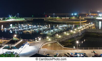 Tide and marina - Entire Night view Timelapse of high and...