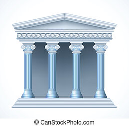 Front view of an antique greek blue temple Vector...