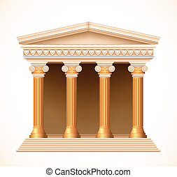 Front view of an antique greek gold temple. Vector...