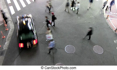 Aerial view of people walking - :time-lapseshot of People...