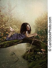 Little girl fishing - The little girl fishing on the river