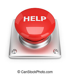help button - Red help button 3d image White background