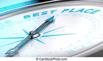 Travel Agency, Best Place Concept - Compass with needle...