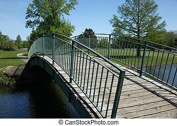 Bridge in Boise Park - A bridge provides an artistic image...