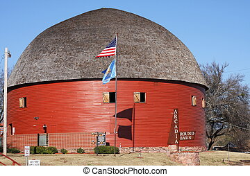 Round barn - Red round barn in Oklahoma