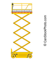 Scissor lift - Self propelled scissor lift isolated on white...