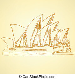 Sketch Sydney opera, vector background eps 10 - Sketch...