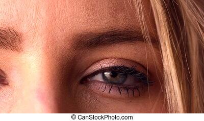 Close up of made up eyes