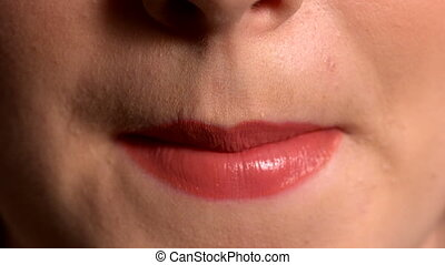 Close up of lips pouting - Close up of lips pouting in slow...