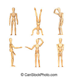 Sequence gestures articulated wooden mannequin isolated on a...
