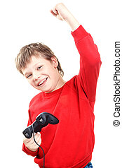 Happy boy with gamepad in hands is isolated on a white...