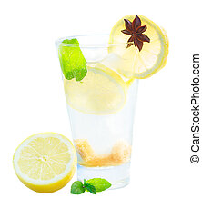 glass of lemonad - cool lemonad in tall glass isolated on...
