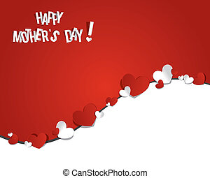 Happy Mothers Day with Hearts vector illustration