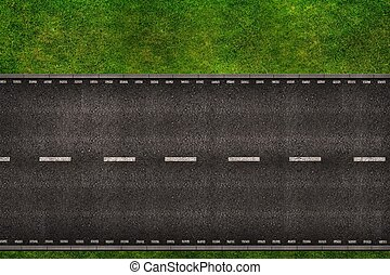 Road From Above Illustration - Two Lanes Two Ways Road From...
