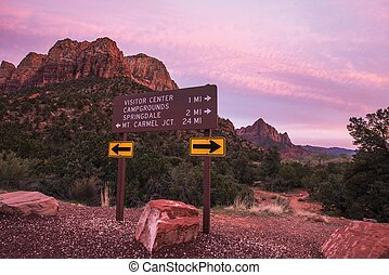 Zion Park Roads Crossing Sign Zion National Park, Utah,...