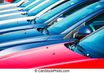 Modern Cars in Stock Car Dealer Brand New Cars in a Row