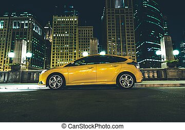 Downtown Parked Car at Night. Downtown Chicago Parking...