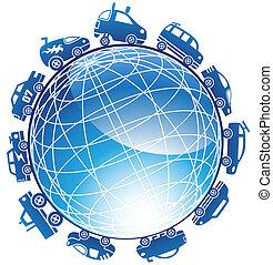 Hot Rod Race Car Globe Icon Set