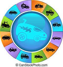 Hot Rod Race Car Wheel Icon Set