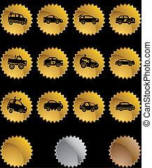 Hot Rod Race Car Gold Sticker Icon Set