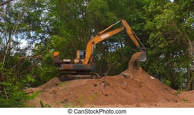 Excavator Working 2 - Extracting and loading gravel...