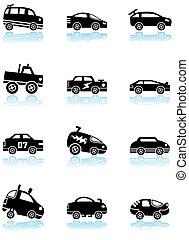 Hot Rod Race Car Black Icon Set