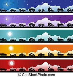 Hot Rod Race Car Banner Icon Set