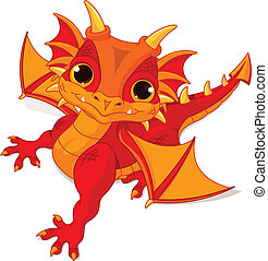 Baby dragon - Illustration of cute cartoon baby dragon