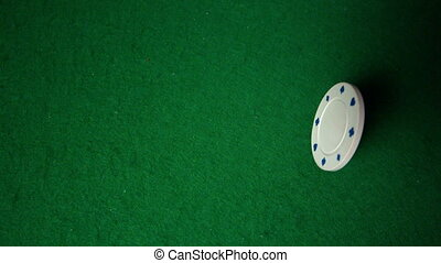Many chips falling on casino table