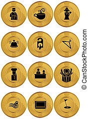 Hotel Gold Coin Icon Set - Collection of hotel and spa...