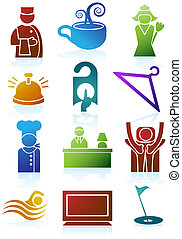 Hotel Color Icon Set - Collection of hotel and spa resort...