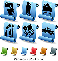 Hotel Scroll Feature Icon Set :