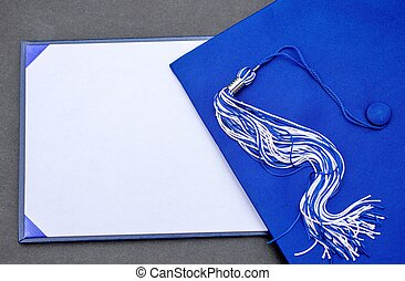 Graduation Message - Cap, tassel and blank diploma with copy...