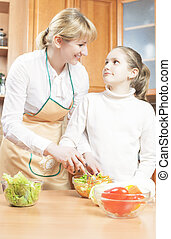 Mother Teaching Her Teenage Daughter  to Cook Salad in The Kitchen. Vertical Image