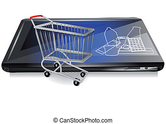 retail on line. shopping cart and tablet isolated on white
