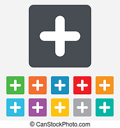 Plus sign icon Positive symbol Zoom in Rounded squares 11...
